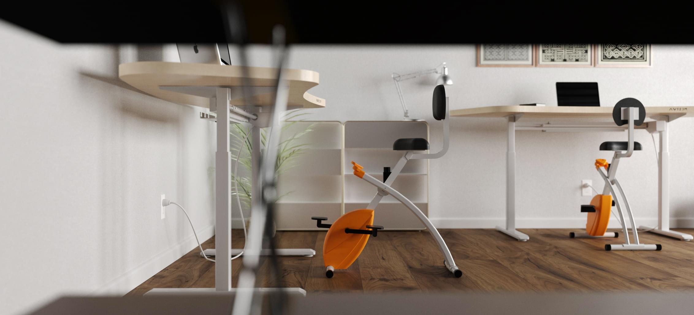 Ergonomyx desk and bike in an office